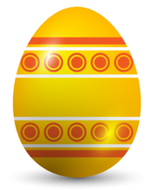 a golden easter egg with circles and stripes